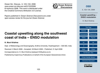 Coastal Upwelling Along the Southwest Co... by Muni Krishna, K.