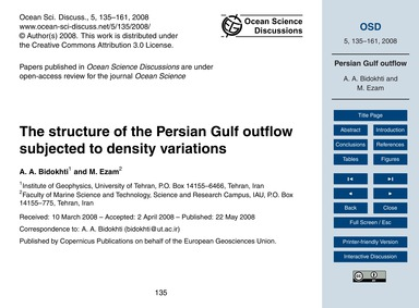 The Structure of the Persian Gulf Outflo... by Bidokhti, A. A.
