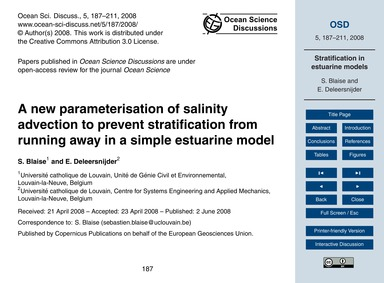 A New Parameterisation of Salinity Advec... by Blaise, S.