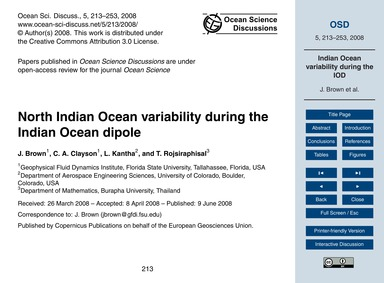 North Indian Ocean Variability During th... by Brown, J.