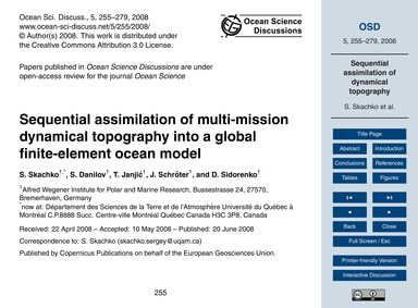 Sequential Assimilation of Multi-mission... by Skachko, S.