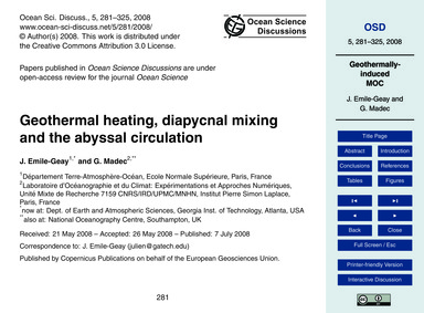 Geothermal Heating, Diapycnal Mixing and... by Emile-geay, J.