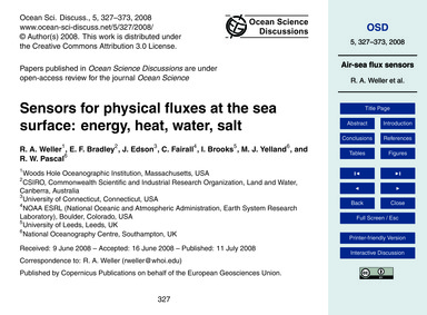 Sensors for Physical Fluxes at the Sea S... by Weller, R. A.