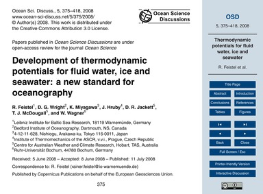 Development of Thermodynamic Potentials ... by Feistel, R.