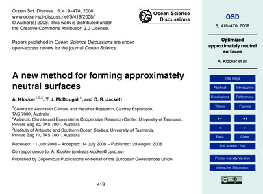 A New Method for Forming Approximately N... by Klocker, A.