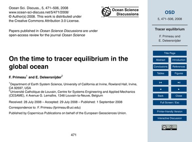 On the Time to Tracer Equilibrium in the... by Primeau, F.