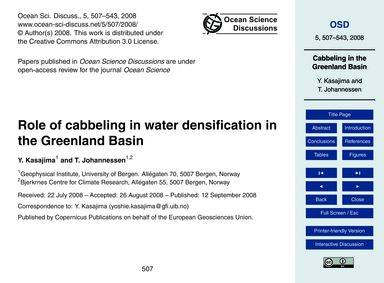 Role of Cabbeling in Water Densification... by Kasajima, Y.
