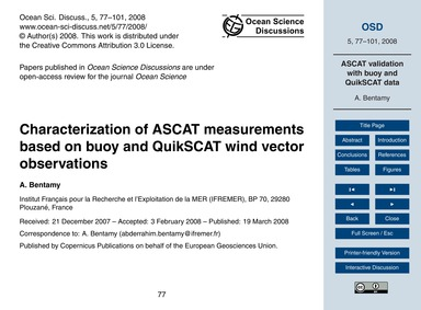 Characterization of Ascat Measurements B... by Bentamy, A.