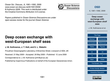 Deep Ocean Exchange with West-european S... by Huthnance, J. M.