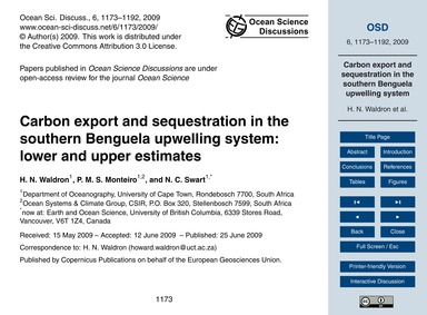 Carbon Export and Sequestration in the S... by Waldron, H. N.