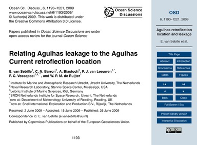 Relating Agulhas Leakage to the Agulhas ... by Van Sebille, E.