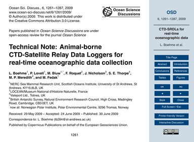 Technical Note: Animal-borne Ctd-satelli... by Boehme, L.