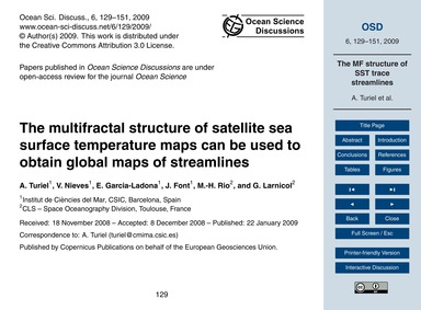 The Multifractal Structure of Satellite ... by Turiel, A.