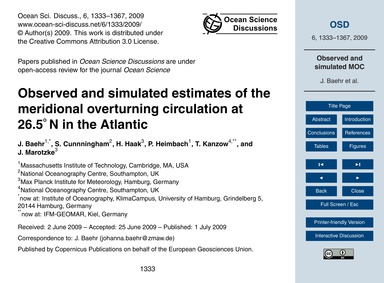 Observed and Simulated Estimates of the ... by Baehr, J.