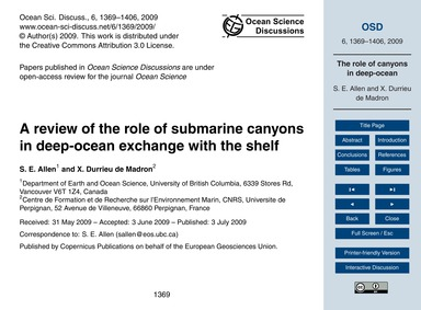 A Review of the Role of Submarine Canyon... by Allen, S. E.