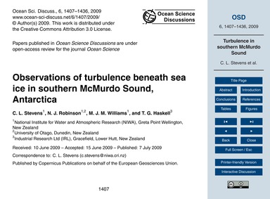 Observations of Turbulence Beneath Sea I... by Stevens, C. L.