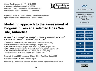 Modelling Approach to the Assessment of ... by Vichi, M.