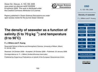 The Density of Seawater as a Function of... by Millero, F. J.