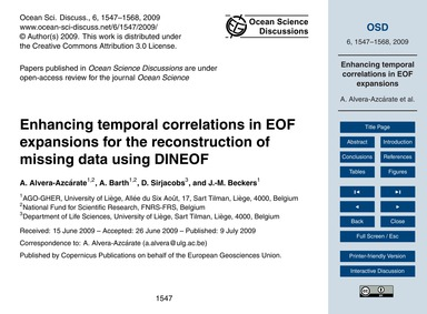 Enhancing Temporal Correlations in Eof E... by Alvera-azcárate, A.
