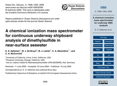 A Chemical Ionization Mass Spectrometer ... by Saltzman, E. S.