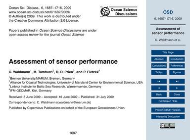 Assessment of Sensor Performance : Volum... by Waldmann, C.