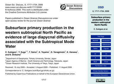 Subsurface Primary Production in the Wes... by Sukigara, C.