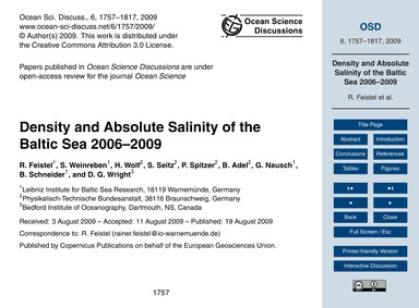 Density and Absolute Salinity of the Bal... by Feistel, R.