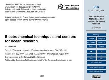 Electrochemical Techniques and Sensors f... by Denuault, G.
