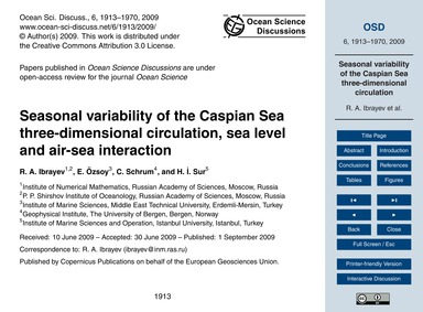 Seasonal Variability of the Caspian Sea ... by Ibrayev, R. A.