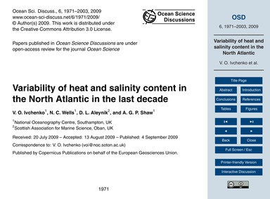 Variability of Heat and Salinity Content... by Ivchenko, V. O.