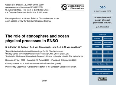 The Role of Atmosphere and Ocean Physica... by Philip, S. Y.