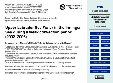 Upper Labrador Sea Water in the Irminger... by Louarn, E.