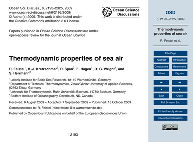 Thermodynamic Properties of Sea Air : Vo... by Feistel, R.