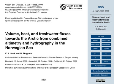 Volume, Heat, and Freshwater Fluxes Towa... by Mork, K. A.