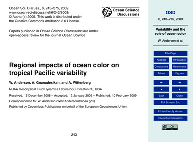 Regional Impacts of Ocean Color on Tropi... by Anderson, W.
