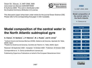 Modal Composition of the Central Water i... by Cianca, A.
