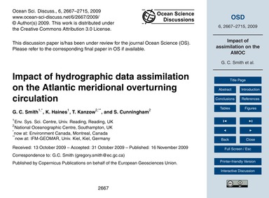 Impact of Hydrographic Data Assimilation... by Smith, G. C.