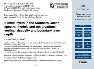 Ekman Layers in the Southern Ocean: Spec... by Elipot, S.