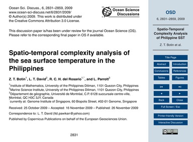 Spatio-temporal Complexity Analysis of t... by Botin, Z. T.