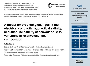 A Model for Predicting Changes in the El... by Pawlowicz, R.