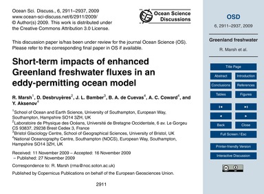Short-term Impacts of Enhanced Greenland... by Marsh, R.
