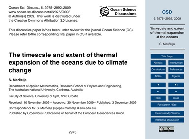 The Timescale and Extent of Thermal Expa... by Marčelja, S.