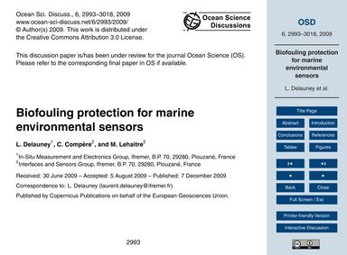 Biofouling Protection for Marine Environ... by Delauney, L.
