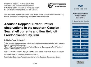 Acoustic Doppler Current Profiler Observ... by Ghaffari, P.