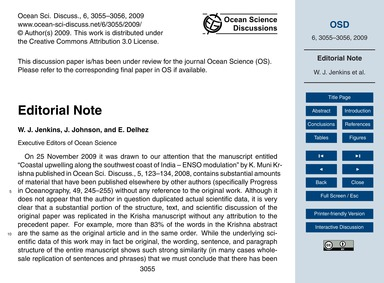 Editorial Note : Volume 6, Issue 3 (10/1... by Jenkins, W. J.