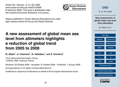 A New Assessment of Global Mean Sea Leve... by Ablain, M.