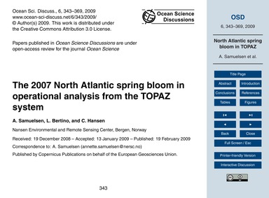 The 2007 North Atlantic Spring Bloom in ... by Samuelsen, A.