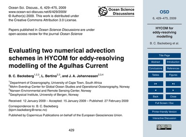 Evaluating Two Numerical Advection Schem... by Backeberg, B. C.