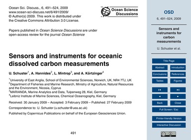 Sensors and Instruments for Oceanic Diss... by Schuster, U.