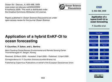 Application of a Hybrid Enkf-oi to Ocean... by Counillon, F.